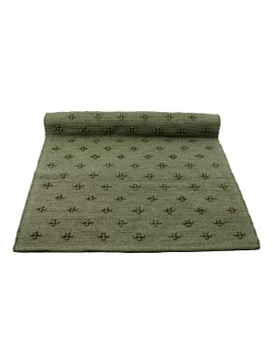liz curly kale green woven cotton floor runner large