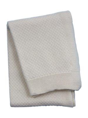liz ecru knitted cotton little blanket small