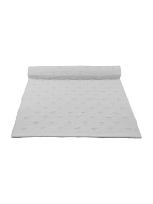 liz white woven cotton floor mat small