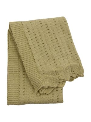nouveau ochre knitted cotton little blanket small