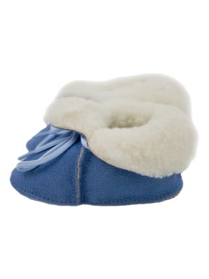 peetypeety baby blue suede sheepfur babouche small