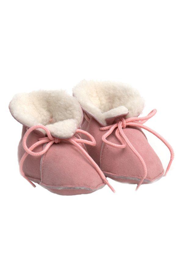 peetypeety baby pink suede sheepfur babouche small