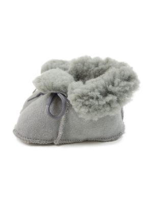 peetypeety light grey suede sheepfur babouche small
