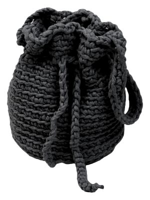peludo anthracite crochet cotton bag