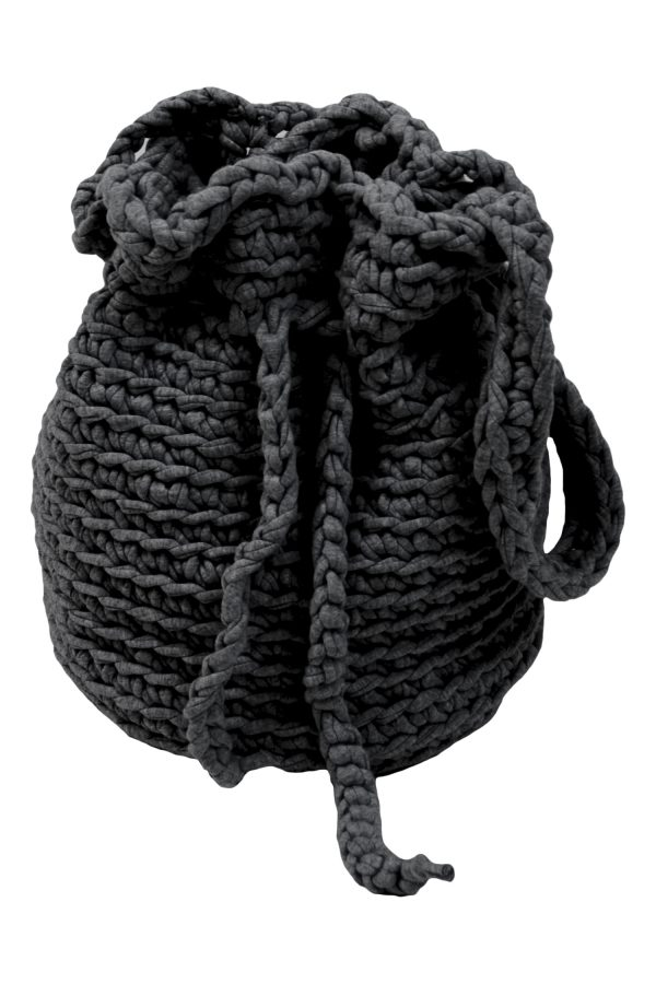 peludo anthracite crochet cotton bag