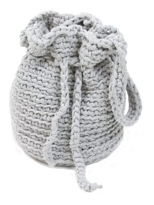 peludo bebble grey crochet cotton bag