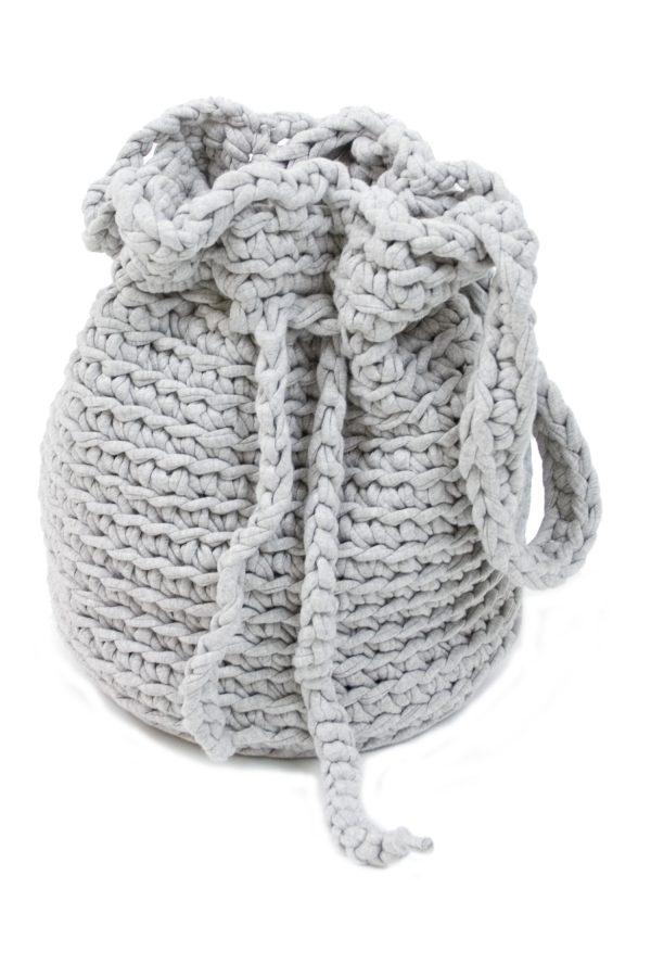 peludo bebble grey crochet cotton bag