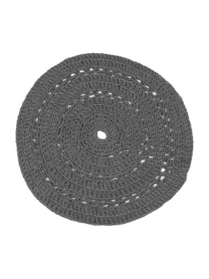peony anthracite crochet cotton floor mat small