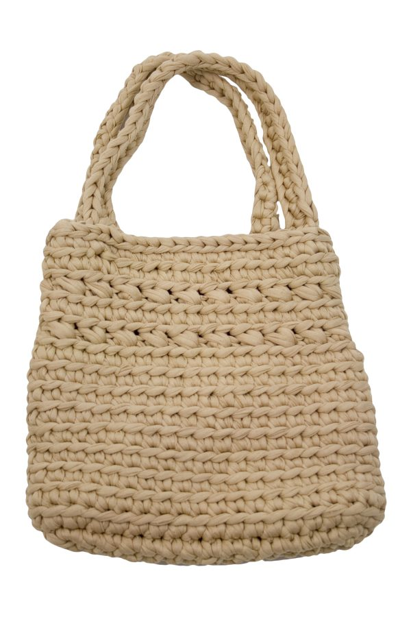 peony camel crochet cotton bag
