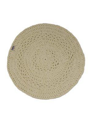 peony ecru crochet cotton floor mat small