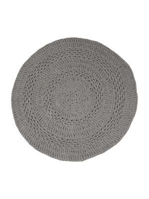 peony grey crochet cotton floor mat small