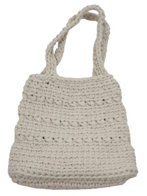 peony linen crochet cotton bag