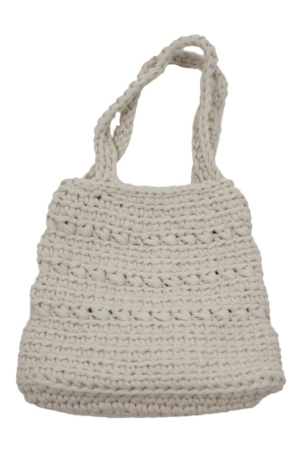 peony linen crochet cotton bag