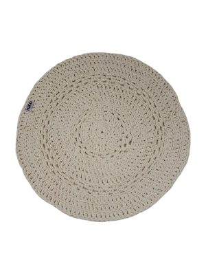 peony linen crochet cotton floor mat small