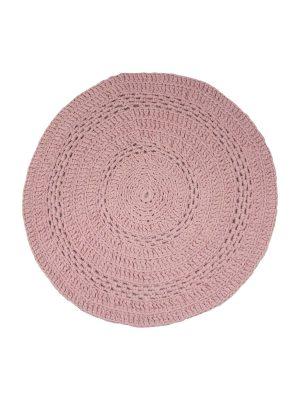 peony old rose crochet cotton floor mat small