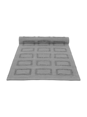 quadro grey woven cotton floor mat small