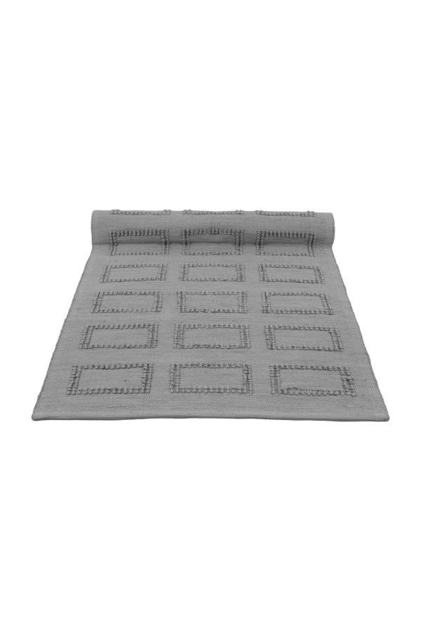 quadro grey woven cotton floor mat small