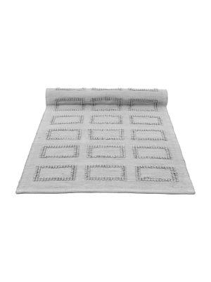 quadro light grey woven cotton floor mat small