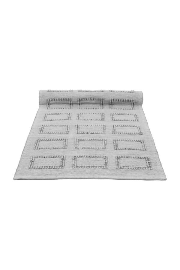 quadro light grey woven cotton floor mat small