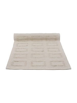 quadro linen woven cotton floor mat small