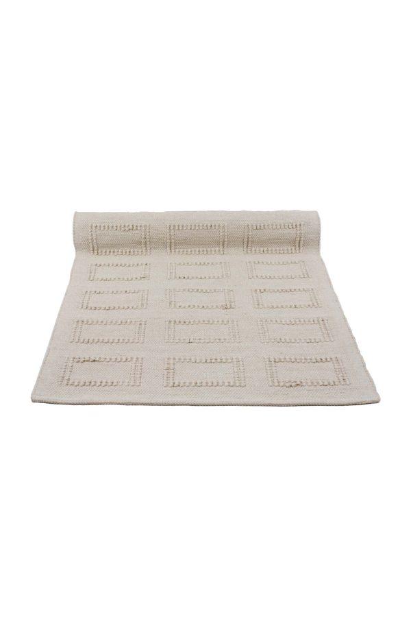 quadro linen woven cotton floor mat small
