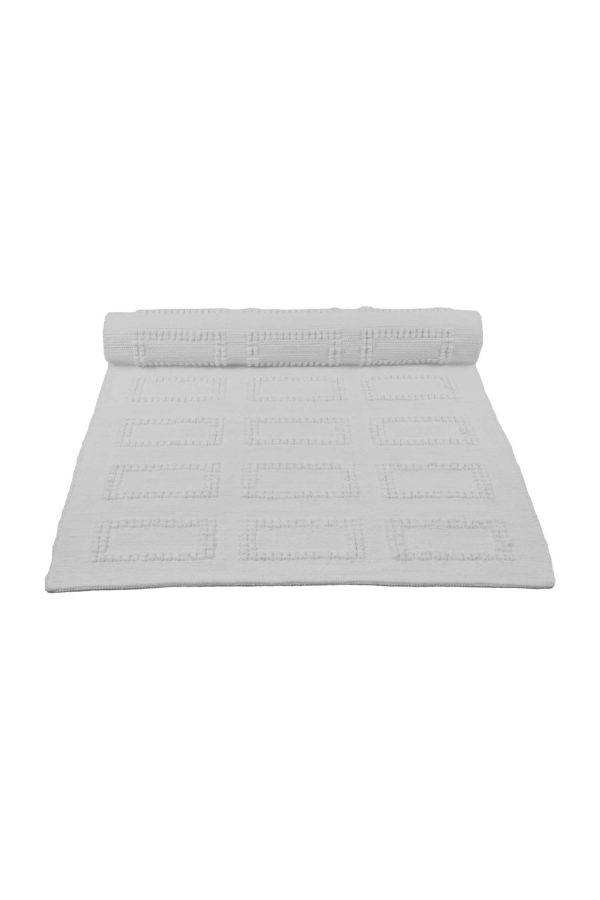 quadro white woven cotton floor mat small