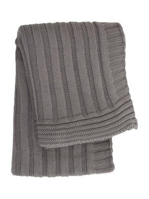 ribs grey knitted cotton little blanket small