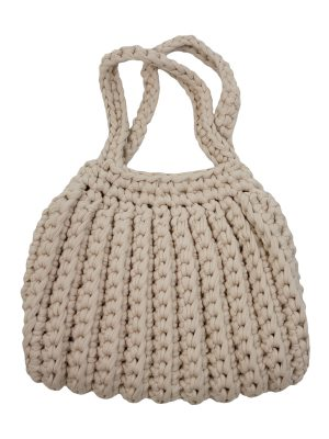 ribs linen crochet cotton bag