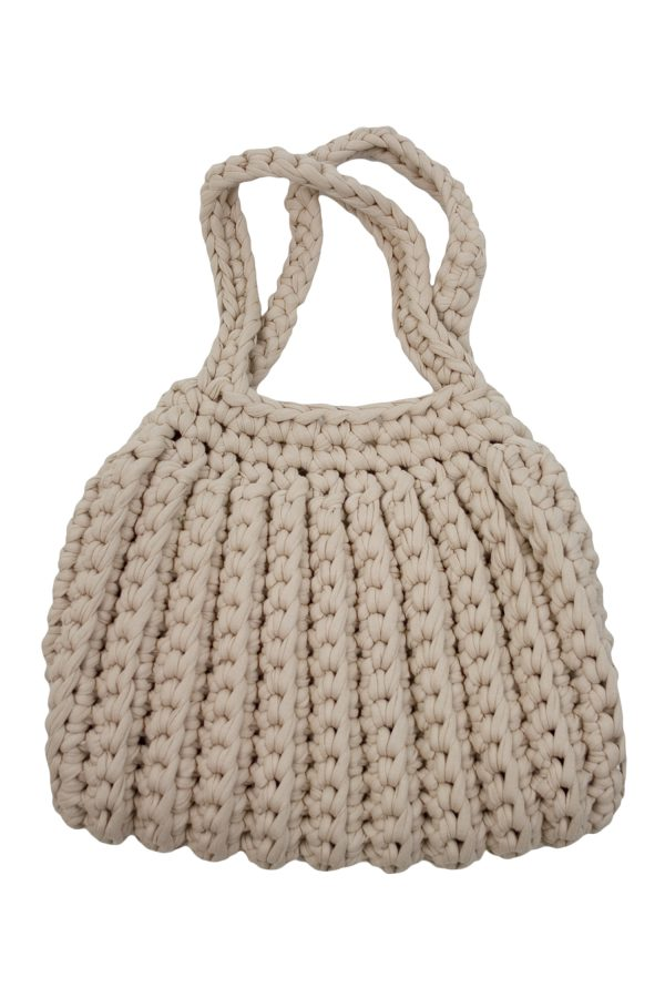 ribs linen crochet cotton bag