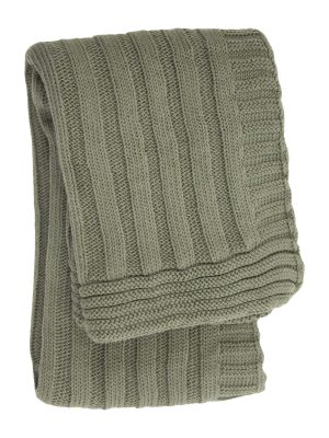 ribs olive green knitted cotton little blanket small