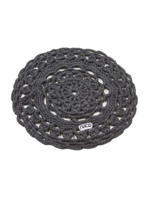 rosette anthracite crochet cotton placemat small