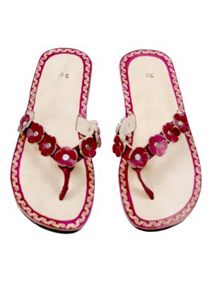 rosette chillipepper leather flipflop small
