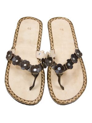 rosette choc leather flipflop small