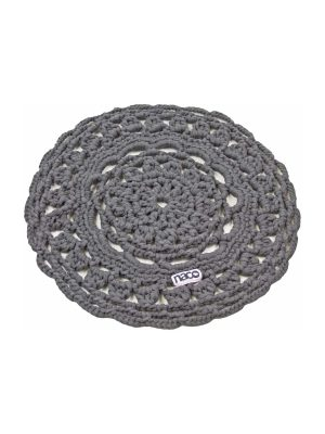 rosette grey crochet cotton placemat small