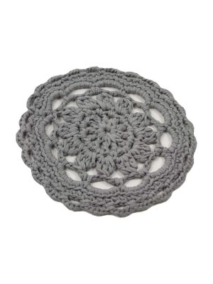 rosette light grey crochet cotton placemat small