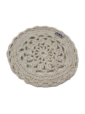rosette linen crochet cotton placemat small