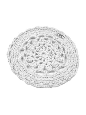 rosette white crochet cotton placemat small