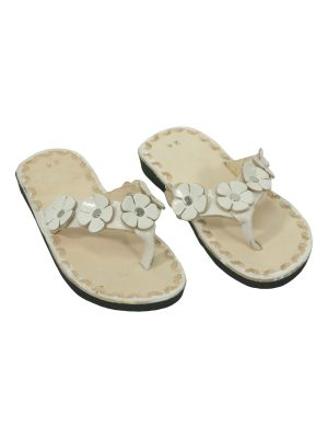 rosette white leather flipflop kids xsmall