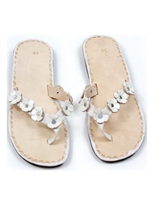 rosette white leather flipflop small