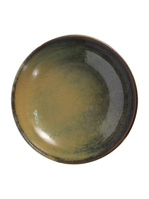 salad bowl ochre glaze ceramic large
