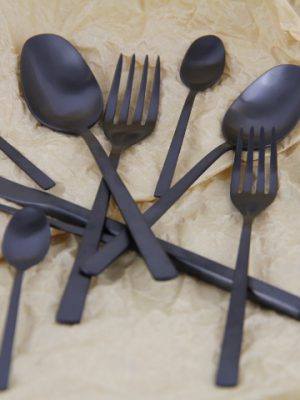 stainless steel cutlery black desert set