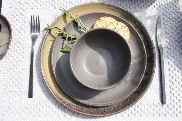 stainless steel cutlery black diner set