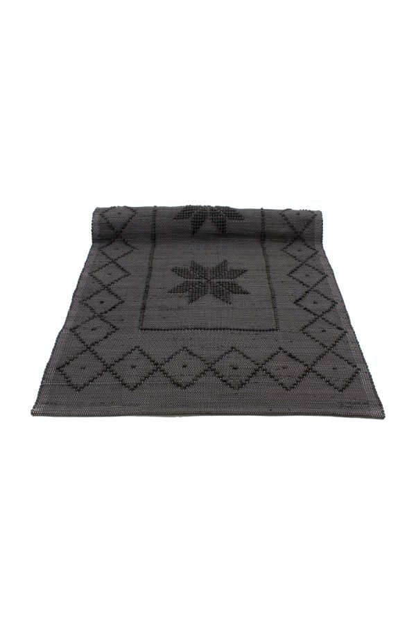star anthracite woven cotton floor mat small