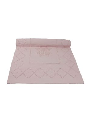 star baby pink woven cotton floor mat small