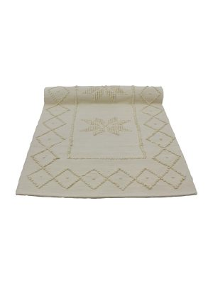 star ecru woven cotton floor mat small
