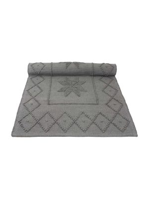 star grey woven cotton floor mat small