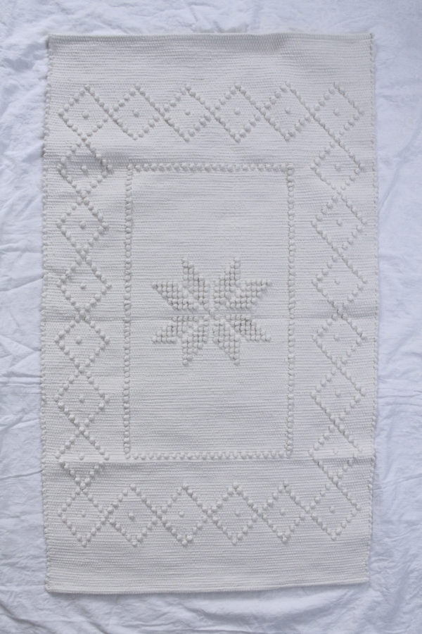 star off-white woven cotton floor mat small