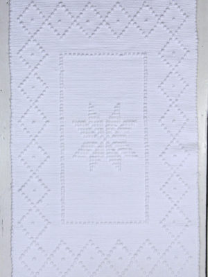 star white woven cotton floor mat small