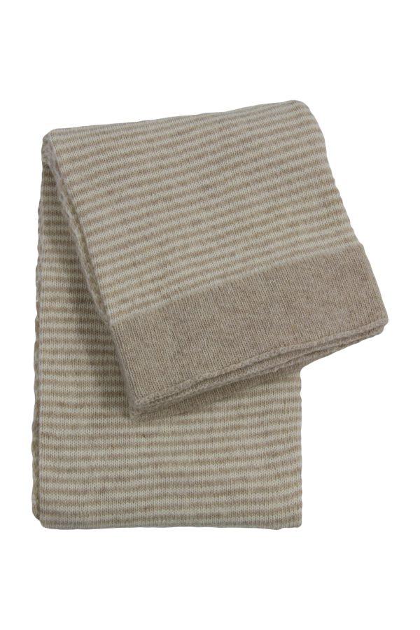 stripy ecru knitted woolen little blanket small