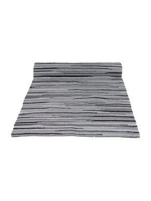 stripy grey woven cotton floor runner large